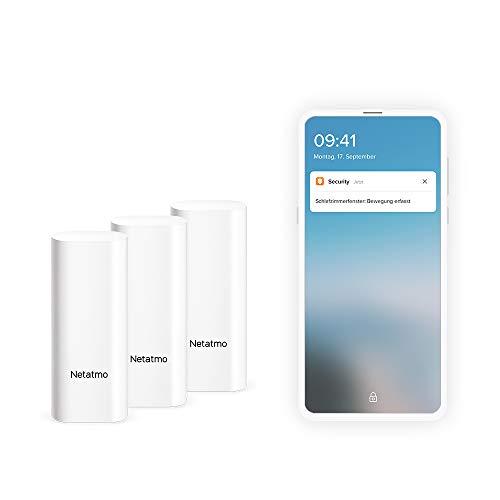 Netatmo Smarte Tür- und Fenstersensoren von Netatmo, drahtlos, einteilig, 3er Pack, Schwingungserkennungen, DTG-DE