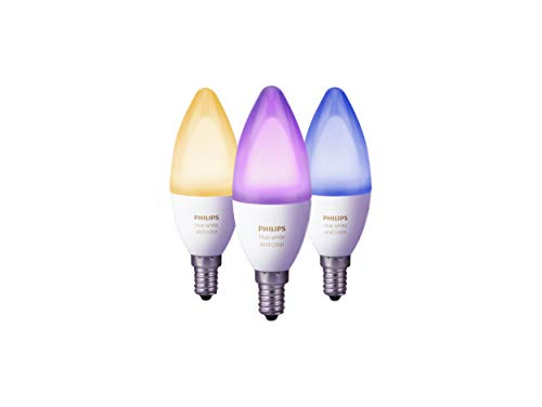 Philips Hue White and Color Ambiance E14 LED Kerze Dreierpack, dimmbar, bis zu 16 Millionen Farben, steuerbar via App, kompatibel mit Amazon Alexa (Echo, Echo Dot)