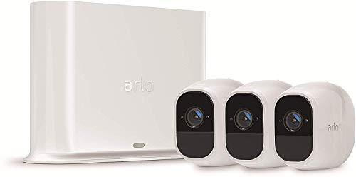 Arlo Pro2 Smart Home 3 HD-Überwachungskameras & Sicherheitsalarm (130 Grad Blickwinkel, kabellos, WLAN, Bewegungsmelder, Innen/Außen, Nachtsicht, wetterfest, 2-Wege Audio) weiß, VMS4330P
