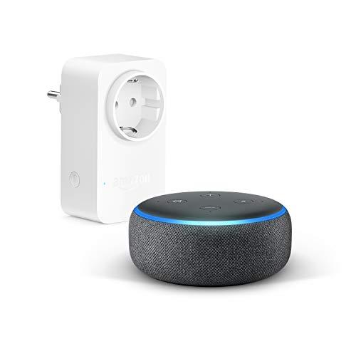 Echo Dot (3. Gen.), Anthrazit Stoff + Amazon Smart Plug (WLAN-Steckdose), Funktionert mit Alexa