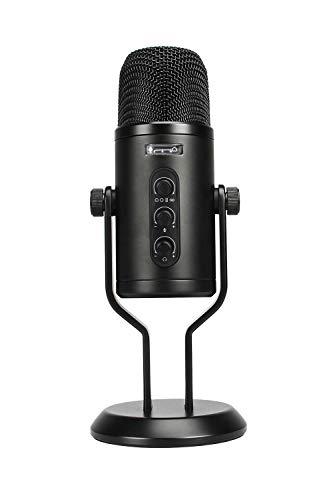 Amazon Basics Professionelles USB-Kondensatormikrofon mit Lautstärkeregler und OLED-Display, Schwarz