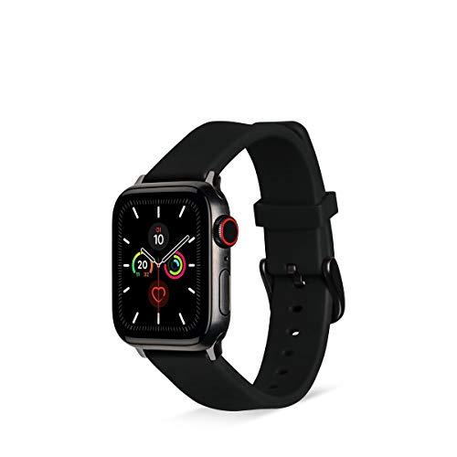 Artwizz WatchBand Silicone Armband kompatibel mit Apple Watch Series 5-4 (44 mm) & Apple Watch Series 3-1 (42 mm) - Silikon Ersatzarmband mit Adapter - Black