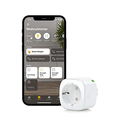 Eve Energy - Smarte schaltbare Steckdose (dt. Markenqualität), TÜV-zertifiziert, Verbrauchsmessung, Zeitpläne, schaltet Geräte ein/aus, keine Bridge nötig, Smart Plug, Apple HomeKit, Bluetooth, Thread