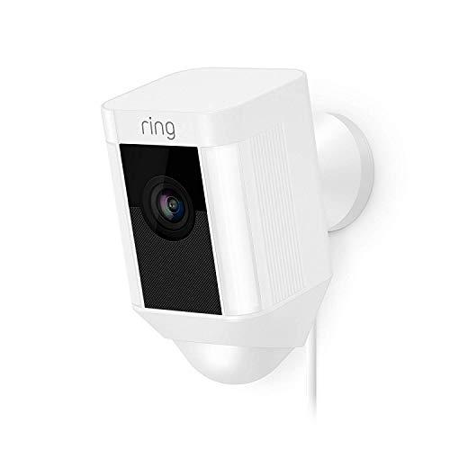 Ring Spotlight Cam Wired | HD Sicherheitskamera mit LED Licht, Sirene und Gegensprechfunktion, 240 V kabelgebunden, weiß