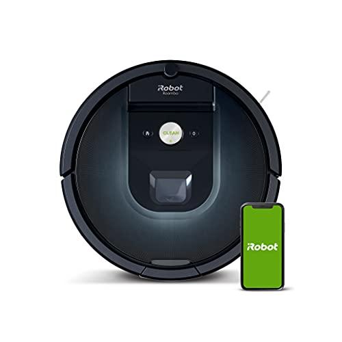 iRobot Roomba 981 WLAN-fähiger Saugroboter (Staubsauger Roboter) mit zwei Gummibürsten, Lädt auf und reinigt weiter, Individuelle Anpassung, Sprachassistenten-kompatibel, mit Teppichboost