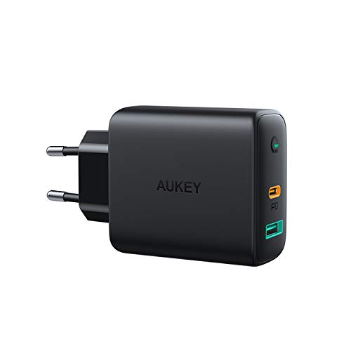 AUKEY USB PD Ladegerät mit Dynamic Detect, 30W Power Delivery Wandladegerät 2-Port für iPhone 11 Pro/11 Pro Max/11, Galaxy S10/Note9, Google Pixel 3/3XL, MacBook Air,Airpods Pro,Nintendo Switch usw.