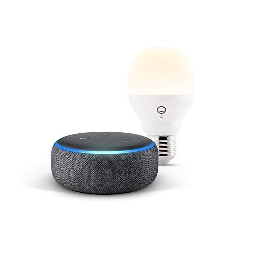 Echo Dot (3. Gen.), Anthrazit Stoff + LIFX Weiß Smarte Lampe (E27), Funktionert mit Alexa
