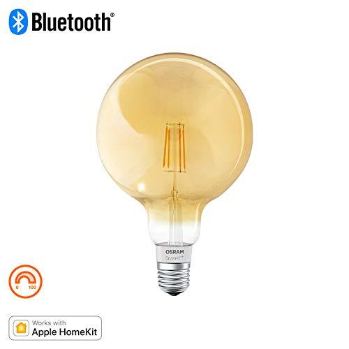 OSRAM SMART+ LED Filament Globe Gold, Bluetooth Lampe mit E27 Sockel, dimmbar, ersetzt 50W Glühbirne, warmweiß , Kompatibel mit Apple Homekit und LEDVANCE Smart+ App für Android