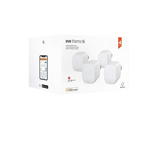 Eve Thermo, 4er Set - Smartes Heizkörperthermostat mit LED-Display, automatischer Temperatursteuerung, keine Bridge erforderlich, integriertes Touch-Bedienfeld, BLE, Apple HomeKit, Made in Germany