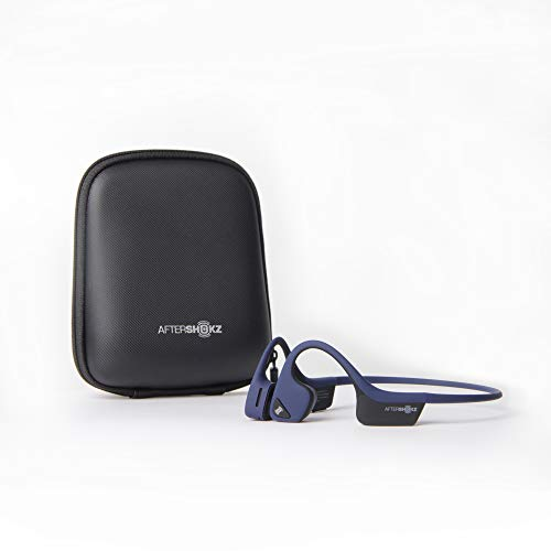 AfterShokz Trekz Air Open Ear Sport Kopfhörer, Bluetooth Kopfhörer, Knochenschall Kopfhörer, Bone Conduction Headphones, Mit Tragetasche/Wireless/Mikrofon/Etwa 30g, Nachtblau