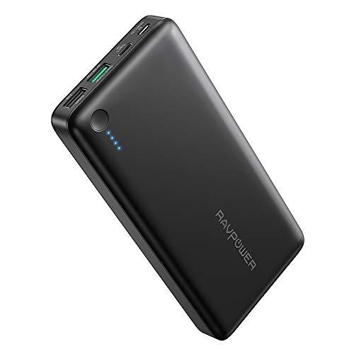 RAVPower 20100mAh Powerbank USB C (5V/3A) Anschluss Quick Charge 3.0 und iSmart USB Ausgänge Hohe Kapazität für iPhone XS Max / XR / 8 / X / 7 / 6S / 6, iPad, Galaxy S8 S9 und Viele Mehr