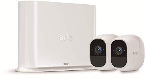 Arlo Pro2 Überwachungskamera & Alarmanlage, 1080p HD, 2er Set, Smart Home, kabellos, Innen/Außen, Nachtsicht, 130 Grad Blickwinkel, WLAN, 2-Wege Audio, wetterfest, Bewegungsmelder, (VMS4230P) - Weiß