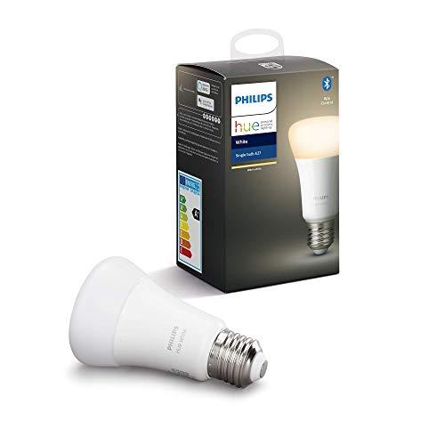 """Philips Hue White E27 LED Lampe Einzelpack, dimmbar, warmweißes Licht, steuerbar via App, kompatibel mit Amazon Alexa (Echo, Echo Dot), Gerät """"Zertifiziert für Menschen"""""""