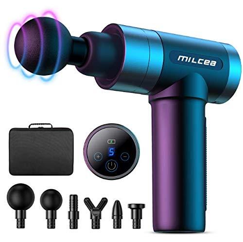 MILcea massagepistole, massagegerät mit 5 Geschwindigkeiten, LED-Anzeige-Touchscreen Massage Gun, elektrisches Handmassagegerät mit Massageköpfen für Nacken Schulter Rücken