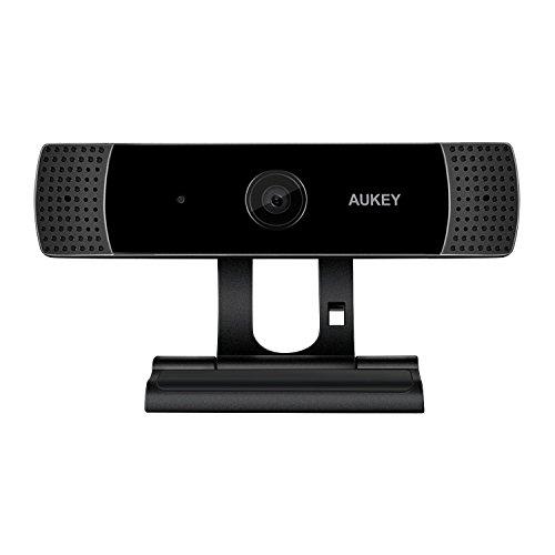 AUKEY Webcam 1080P Full HD mit Stereo Mikrofon, Web-Kamera für Chat Video und Aufnahme, kompatibel mit Windows, Mac und Android