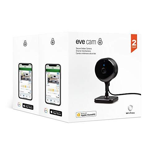 Eve Cam 2er Pack - Smarte Innenkamera, 100% Privatsphäre, HomeKit Secure Video, Mitteilung auf iPhone, iPad, Apple Watch, Bewegungsmelder, Mikro & Speaker, Mensch/Tier-Erkennung