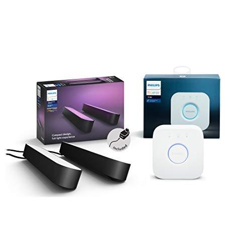 Philips Hue White and Color Ambiance Play Lightbar 2-er Pack inkl. Hue Bridge, schwarz, bis zu 16 Millionen Farben, steuerbar via App, kompatibel mit Amazon Alexa