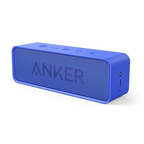 Anker SoundCore Bluetooth Lautsprecher, Tragbarer Lautsprecher mit unglaublicher 24 Stunden Akkulaufzeit und 6W Dual-Treiber, reinem Bass und eingebautem Mikrofon für iPhone, Galaxy usw. (Blau)
