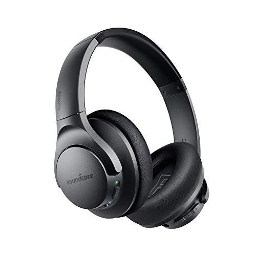 Soundcore Life Q20 Bluetooth Kopfhörer, Aktive Geräuschunterdrückung, 40 St. Wiedergabezeit, Hi-Res Audio, Intensiver Bass, kabellose Kopfhörer für Homeoffice, Online-Unterricht, Konferenzen (Schwarz)