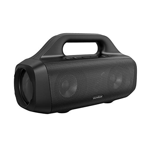 Soundcore Motion Boom Bluetooth Lautsprecher von Anker, mit Titan Audiotreibern, BassUp Technologie, IPX7 Wasserschutz, 24h Akku, mit Trageschlaufe, ideal für draußen, Garten, Strand