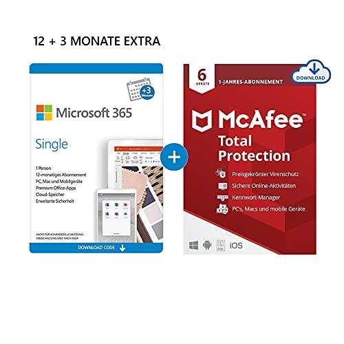 Microsoft 365 Single 12+3 Monate Abonnement | 1 Nutzer | Mehrere PCs/Macs, Tablets und mobile Geräte | Download Code + McAfee Total Protection 2020 | 6 Geräte | 12 Monate Abonnement | Download Code