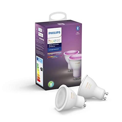 Philips Hue White & Color Ambiance GU10 LED Lampe Doppelpack, dimmbar, bis zu 16 Millionen Farben, steuerbar via App, kompatibel mit Amazon Alexa (Echo, Echo Dot)