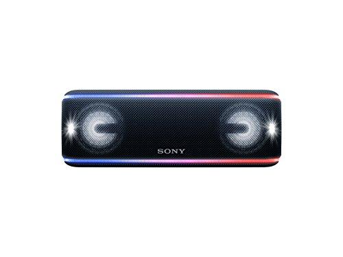 Sony SRS-XB41 kabelloser Bluetooth Lautsprecher (tragbar, mehrfarbige Lichtleiste, Lautsprecherbeleuchtung, Stroboskoplicht, NFC, kompatibel mit Party Chain, Freisprechfunktion für Anrufe) schwarz