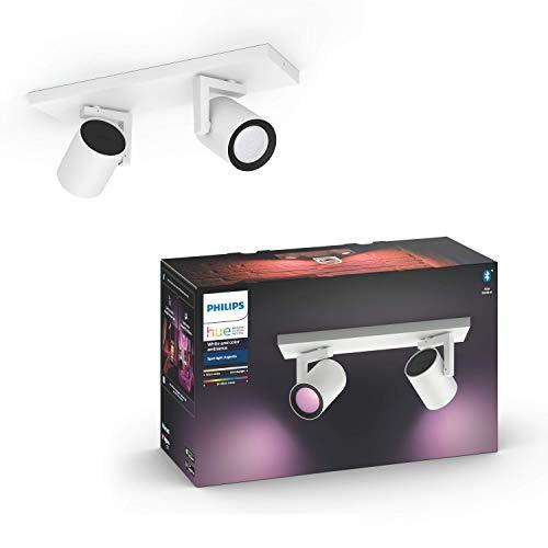 Philips Hue White & Col. Amb. LED 2-er Spot Argenta, weiß, dimmbar, 16 Mio. Farben, steuerbar via App, kompatibel mit Amazon Alexa (Echo, Echo Dot)