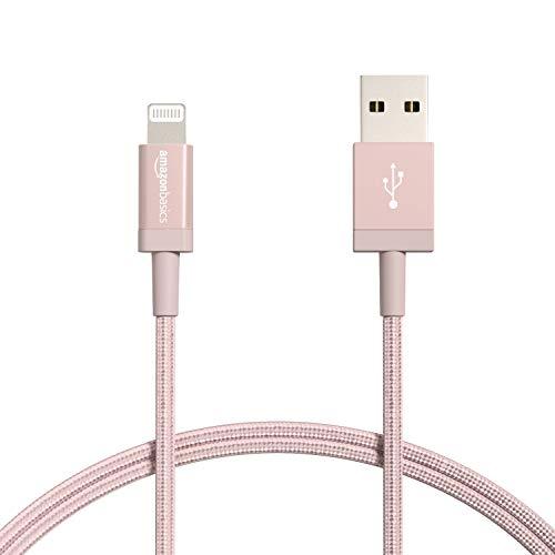 Amazon Basics – Verbindungskabel Lightning auf USB-A, Nylon-umflochten, MFi-zertifiziertes Ladekabel für iPhone, rotgoldfarben, 91,2 cm, 2 Stück