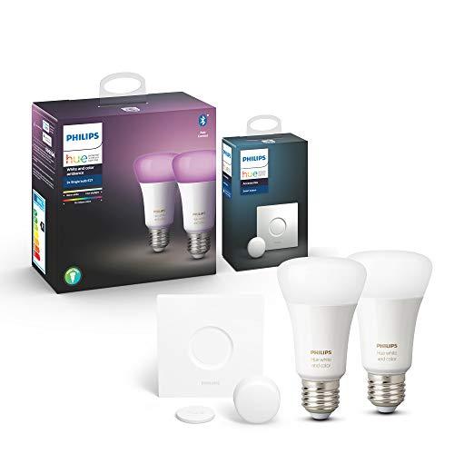 Philips Hue White & Color Ambiance E27 LED Lampe 1-er Pack, dimmbar, bis zu 16 Millionen Farben, steuerbar via App, kompatibel mit Amazon Alexa (Echo, Echo Dot)