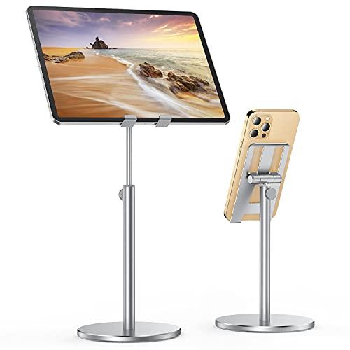 LISEN Verstellbare Tablet/Handy Ständer, Stabiler Ganzmetall Tablet Halterung Verstärkung ipad Stand Halter Dock für Alle Tablet/Smartphones, iPhone 12/iPad/Galaxy,4-13 Zoll (Silber)