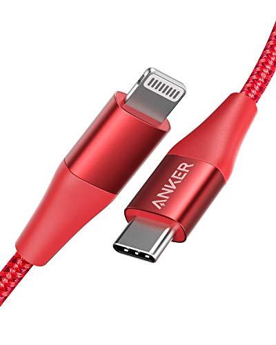 Anker Powerline+ II USB-C auf Lightning Kabel, 90cm lang, Nylon-umflochtenes Ladekabel für iPhone SE/X/XS/XR/XS Max / 8/8 Plus, unterstützt Power Delivery (für Typ-C Ladegeräte), in Rot
