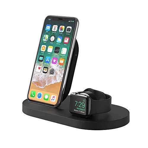 Belkin drahtlose BoostUp Ladestation für iPhone und Apple Watch mit USB-A-Port (Ladestation für iPhone12, 12Pro, 12Pro Max, 12 mini und ältere Modelle, Apple Watch SE, 6, 5, 4, 3, 2, 1) und Airpods