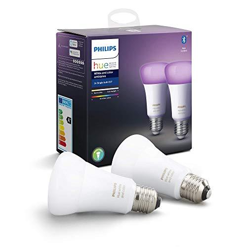 Philips Hue White & Color Ambiance E27 LED Lampe Doppelpack, dimmbar, bis zu 16 Millionen Farben, steuerbar via App, kompatibel mit Amazon Alexa (Echo, Echo Dot)