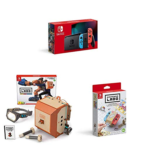 Nintendo Switch Konsole - Neon-Rot/Blau (neue Edition) inkl. Labo Robo-Set und Design Paket