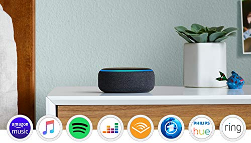 Echo Dot (3. Gen.) Intelligenter Lautsprecher mit Alexa, Anthrazit Stoff