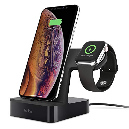 Belkin PowerHouse Ladestation für die Apple Watch und das iPhone (iPhone Ladestation für iPhone 12, 12 Pro, 12 Pro Max, 12 mini und ältere Modelle, Apple Watch Series SE, 6, 5, 4, 3, 2, 1) - Schwarz