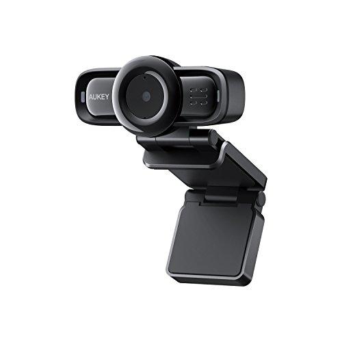 AUKEY Webcam 1080p Full HD mit Autofokus und Geräuschreduzierung-Mikrofone PC Kamera für Video Chat und Aufnahme, Kompatibel mit Windows, Mac und Android