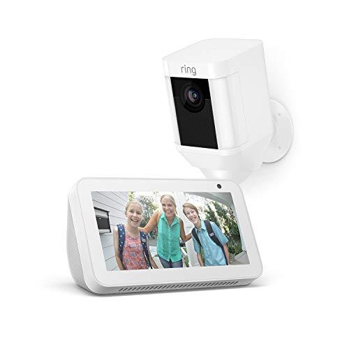 Ring Spotlight Cam Battery, Weiß + Echo Show 5, Weiß, funktioniert mit Alexa