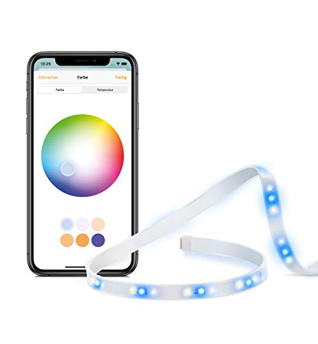 Eve Light Strip - Smarter LED-Lichtstreifen (Dt. Markenqualität), 2 m, weiß & Farbe (RGB), 1800 lm, dimmbar, selbstklebend, keine Bridge nötig, WiFi, Adaptive Lighting, Apple HomeKit