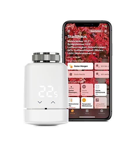 Eve Thermo - Smartes Heizkörperthermostat mit LED-Display, automatischer Temperatursteuerung, keine Bridge erforderlich, integriertes Touch-Bedienfeld, BLE, Apple HomeKit, Made in Germany