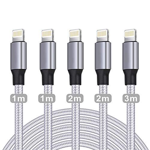 WUYA für iPhone Ladekabel, MFi Zertifiziert Datenkabel für iPhone Kabel(5Pack-1/1/2/2/3m) USB A auf Lightning Kabel Kompatibel mit iPhone 12 11 Pro XS Max XR X 8 Plus 7 Plus 6 Plus 5s SE iPad (Grau)