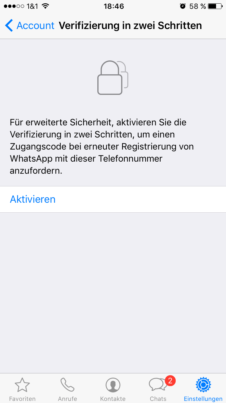WhatsApp Verifizierung starten - Screenshot