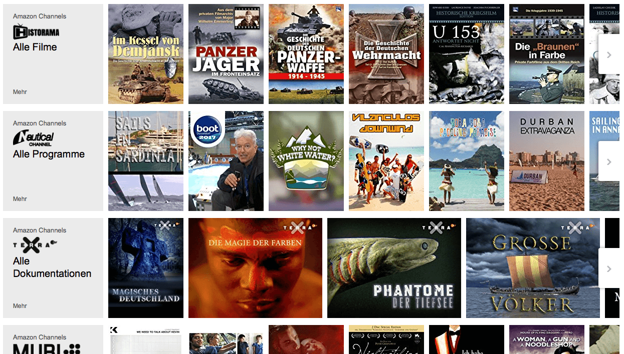 Amazon Channels Beispiel Channels -Screenshot Amazon.de