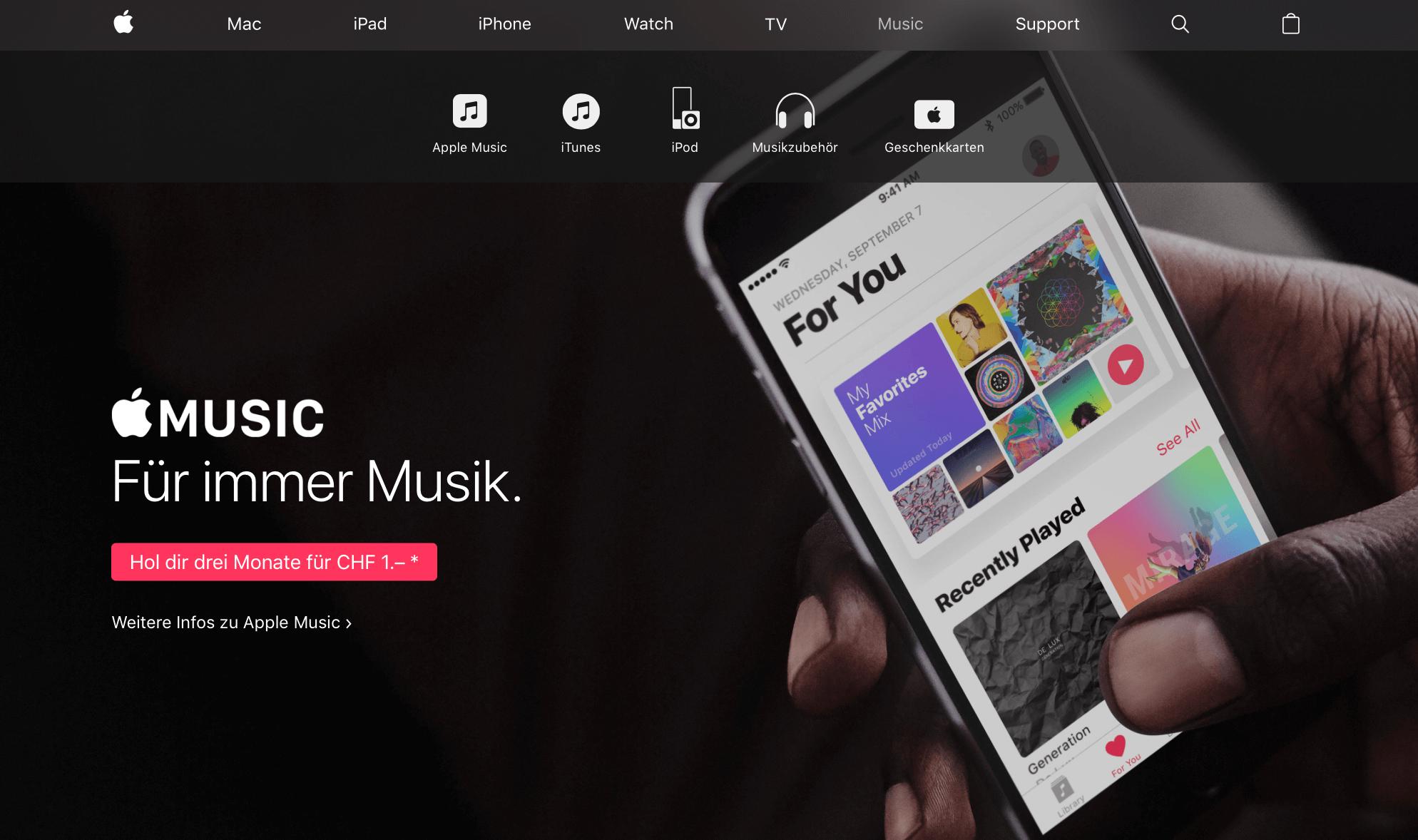 Apple Music in der Schweiz
