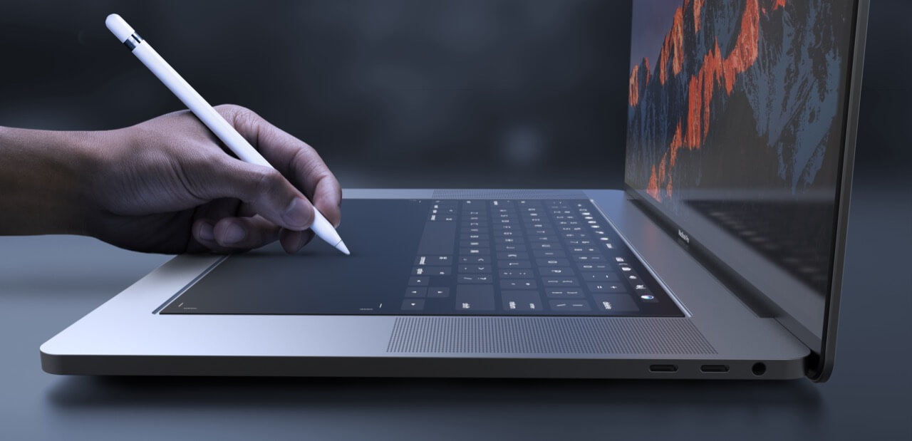 MacBook Pro Concept TouchBar Tastatur (Ansicht Seite mit Apple Pencil) - Design by Daniel Brunsteiner (behance.net)