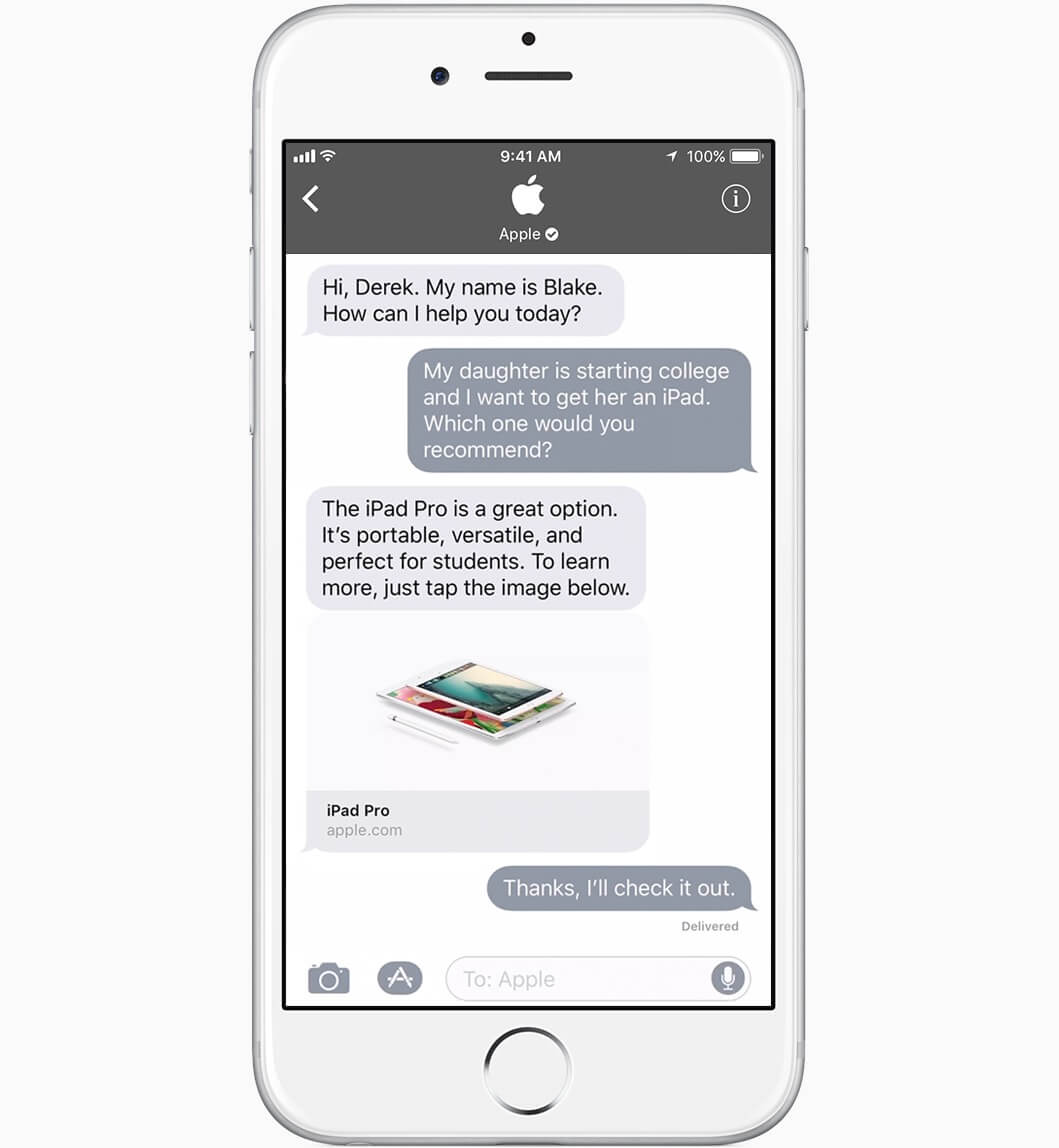 iMessage Business Chat - Apple