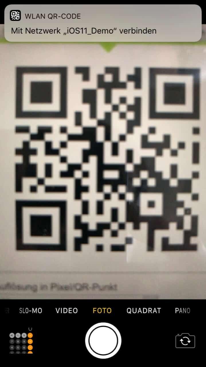 WLAN-Schlüssel aus QR-Codes scannen unter iOS 11 - Screenshot - TechnikSurfer