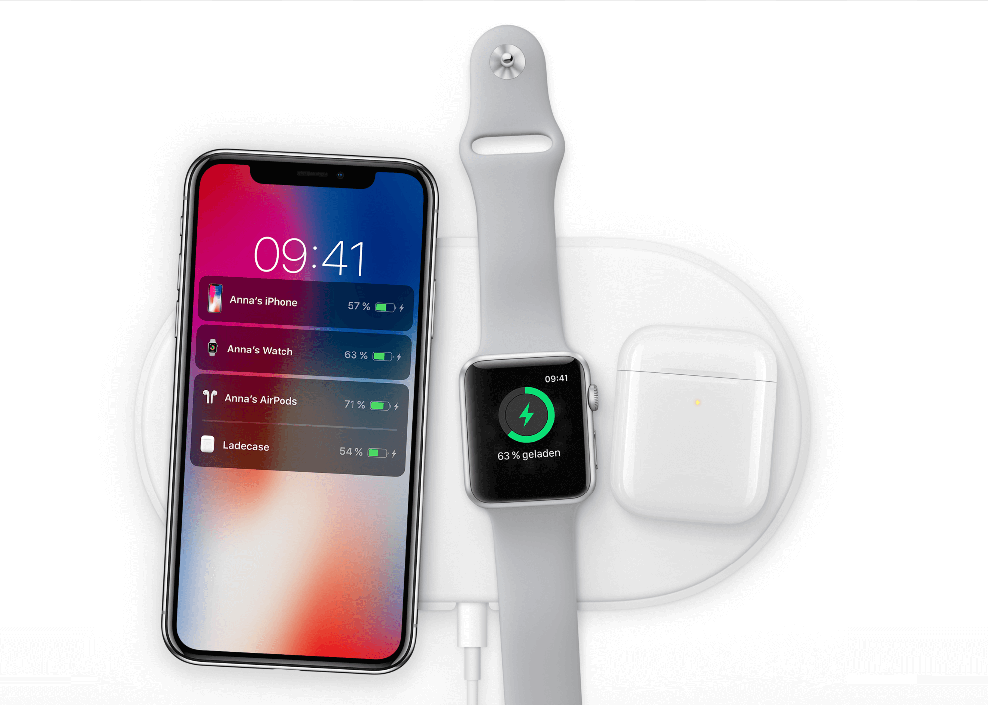 iPhone X Wireless Charging mit Apple Watch und AirPods