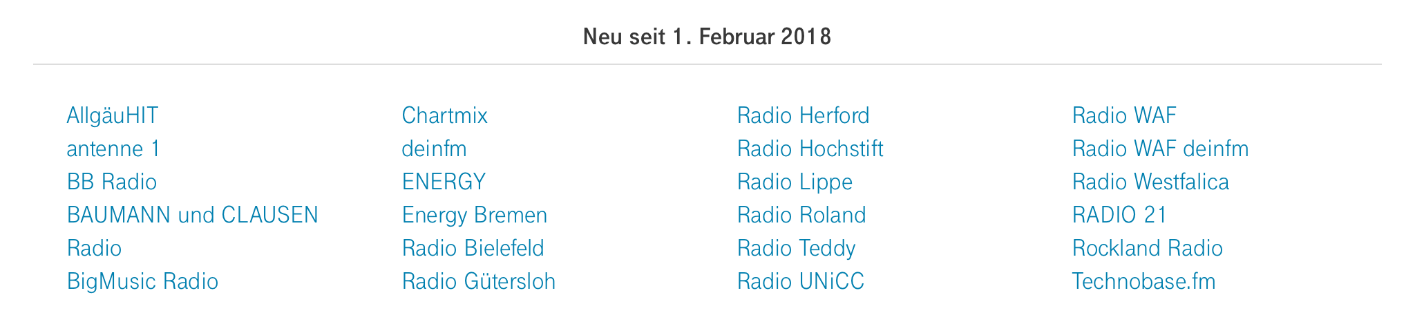 StreamOn Audio neu im Februar 2018 - Deutsche Telekom - Screenshot
